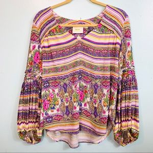 MAEVE ANTHROPOLOGIE Ruched Long Sleeve Floral Top